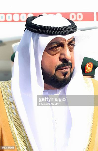 President Sheikh Khalifa bin Zayed arrives at the airport of the Red Sea port city of Jeddah, about 80 kilometers away from the Muslim holy city of...