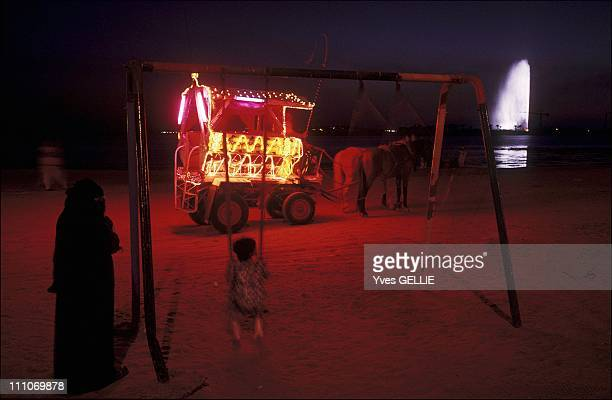 Jeddah The coastal road on Friday night Chads drive Saudi families in brightly lit carts This beach faces the royal palace in Jeddah Saudi Arabia in...
