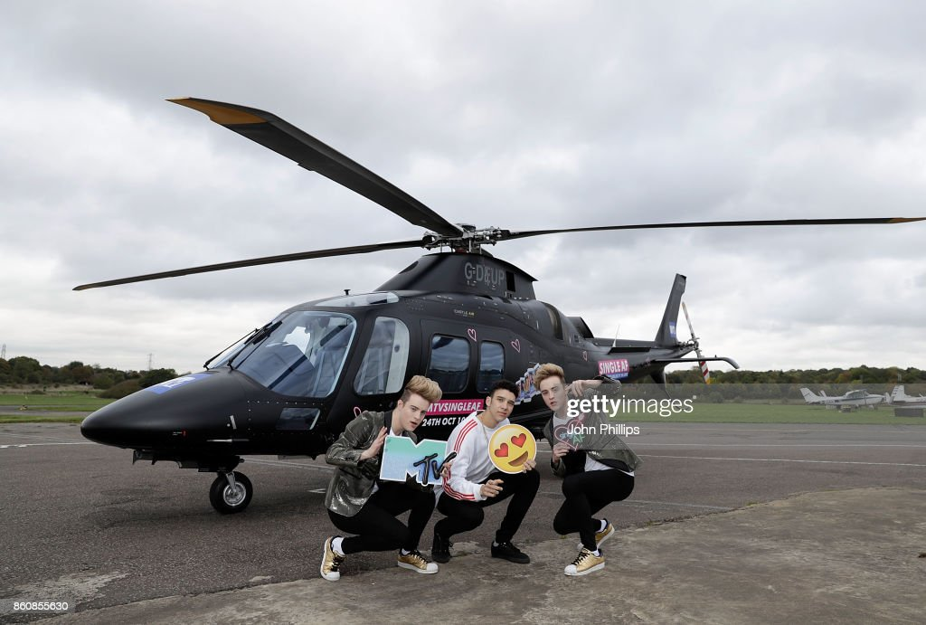Jedward and Elliot Crawford (C) during the MTV 'Single AF' Photocall at Elstree Studios on October 13, 2017 in Borehamwood, England. Seven celebrities embark on the global hunt for love with the help from their social media followers.