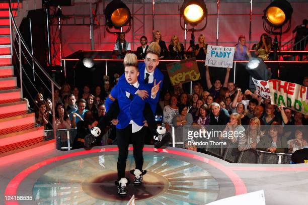 Jedward are evicted from the celebrity Big Brother house during the Celebrity Big Brother Final at Elstree Studios on September 8 2011 in Borehamwood...