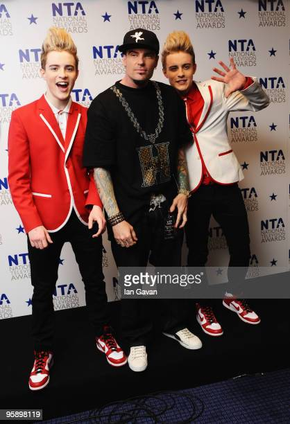 Jedward John and Edward Grimes appear with rapper Vanilla Ice backstage at the National Television Awards held at O2 Arena on January 20 2010 in...