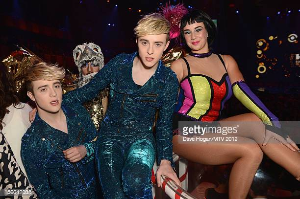 Jedward pose in the VIP Glamour area at the MTV EMA's 2012 at Festhalle Frankfurt on November 11 2012 in Frankfurt am Main Germany