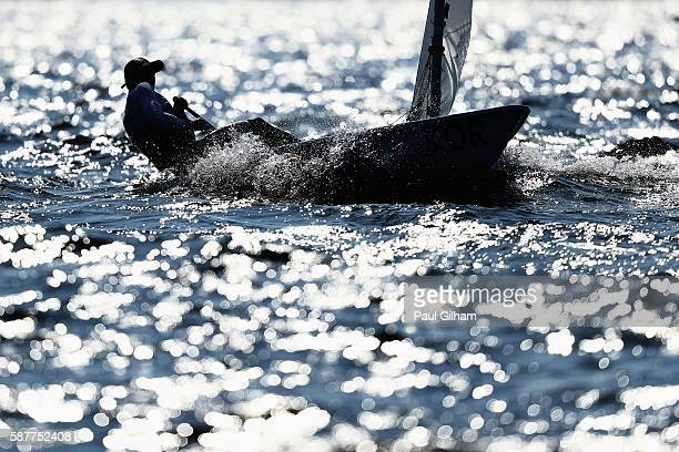 Jeemin Ha of Korea competes in the Men's Laser class races on Day 4 of the Rio 2016 Olympic Games at the Marina da Gloria on August 9 2016 in Rio de...