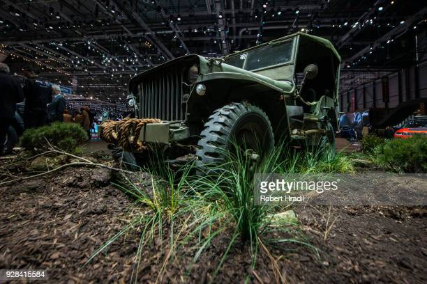 Jeep 1941 Willys is displayed at the 88th Geneva International Motor Show on March 7 2018 in Geneva Switzerland Global automakers are converging on...