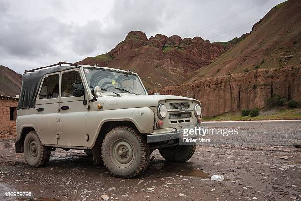 UAZ jeep along the Pamir Highway in Kyrgyzstan