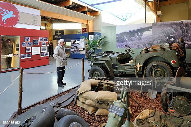 Jeep and weapons at the Pegasus Museum near Ouistreham, Normandy, France .