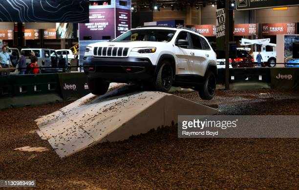 Jeep Cherokee performs during the 'Jeep Experience' at the 111th Annual Chicago Auto Show at McCormick Place in Chicago Illinois on February 8 2019