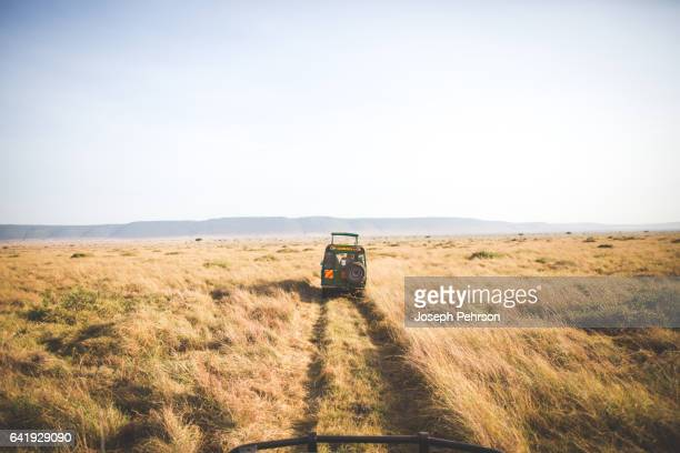 Jeep driving through grass