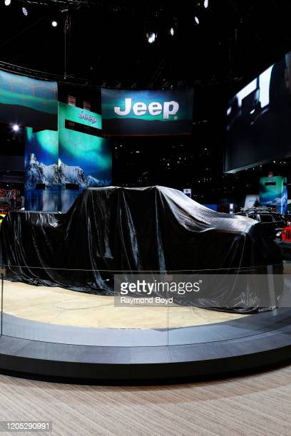 """Jeep Gladiator before being unveiled at the 112th Annual Chicago Auto Show at McCormick Place in Chicago, Illinois on February 6, 2020. """"n"""