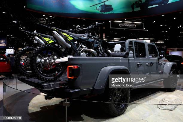 """Jeep Gladiator Sport is on display at the 112th Annual Chicago Auto Show at McCormick Place in Chicago, Illinois on February 7, 2020. """"n"""