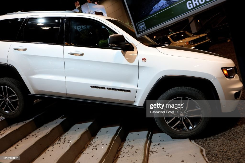 Jeep Grand Cherokee demonstrates its ruggedness in 'Camp Jeep' at the 110th Annual Chicago Auto Show at McCormick Place in Chicago, Illinois on February 9, 2018.