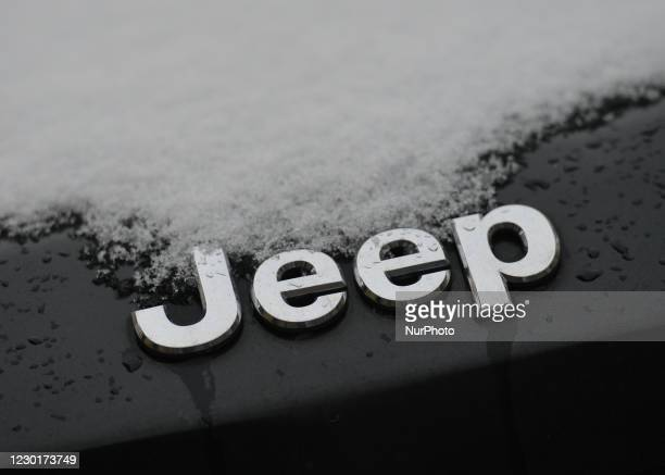 Jeep logo seen on a parked car in Krakow city center. On Thursday, December 10 in Krakow, Poland.