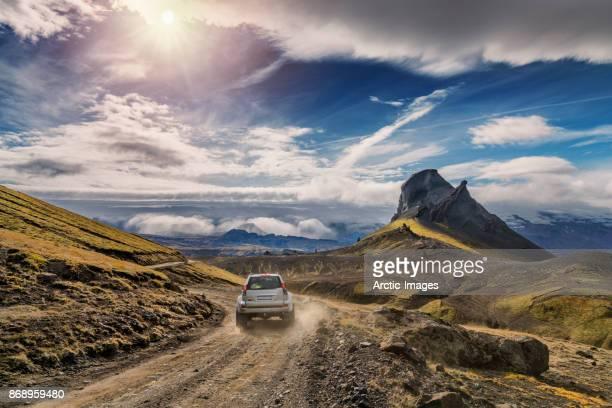 Jeep on Mountain Road, Mt. Einhyrningur, Central Highlands, Iceland