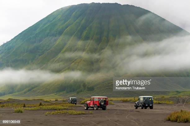 jeep tour near mt.bromo,east java,indonesia - mt bromo stock photos and pictures
