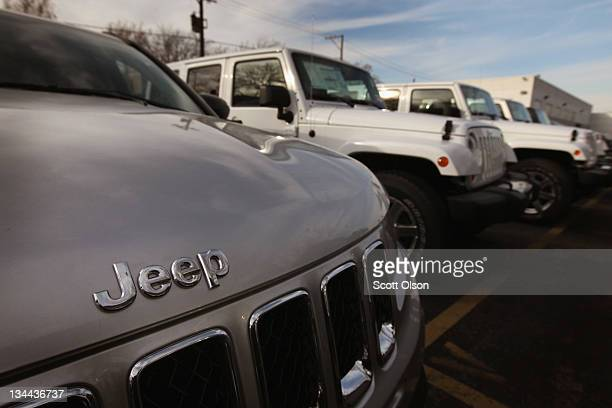 Jeep vehicles are offered for sale at Napleton's Chrysler dealership on December 1 2011 in Chicago Illinois Chrysler's US sales rose 45 percent in...