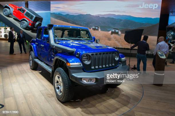 Jeep Wrangler is displayed at the 88th Geneva International Motor Show on March 7 2018 in Geneva Switzerland Global automakers are converging on the...