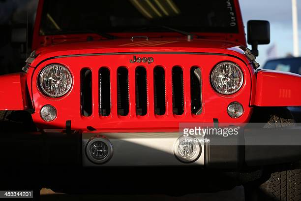 Jeep Wrangler is displayed at the Hollywood Chrysler Jeep dealership on December 3 2013 in Hollywood Florida Chrysler's US sales rose 16% in November...