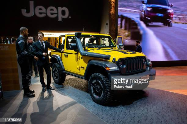 Jeep Wrangler is displayed during the first press day at the 89th Geneva International Motor Show on March 5 2019 in Geneva Switzerland