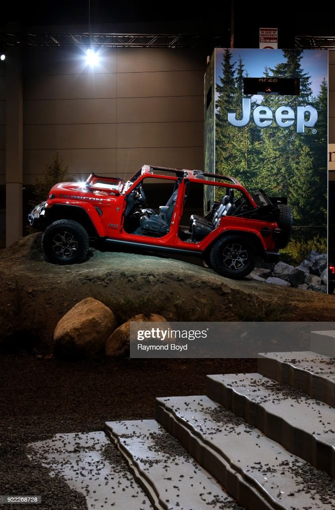 Jeep Wrangler Rubicon is on display in 'Camp Jeep' at the 110th Annual Chicago Auto Show at McCormick Place in Chicago, Illinois on February 9, 2018.