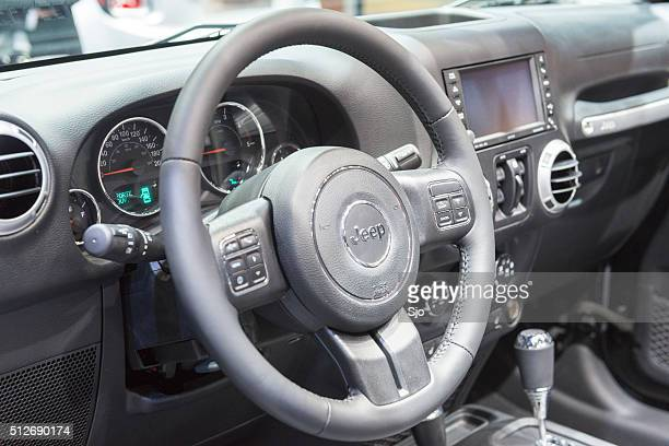 jeep wrangler sahara edition off-road vehicle dashboard - jeep wrangler stock photos and pictures