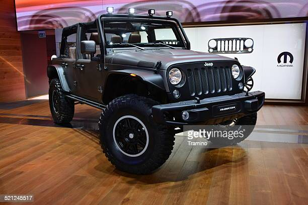 jeep wrangler unlimited rubicon stealth concept on the motor show - jeep wrangler stock photos and pictures