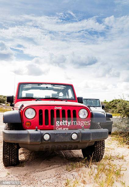 jeep wranglers at carova beach - jeep wrangler stock photos and pictures