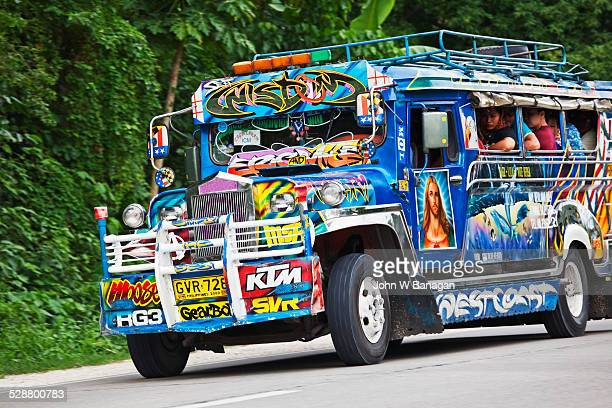 jeepney bus. bohol, phillipines - jeepney stock pictures, royalty-free photos & images