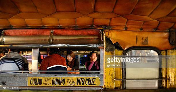 jeepney transport in manila, philippines - jeepney stock pictures, royalty-free photos & images