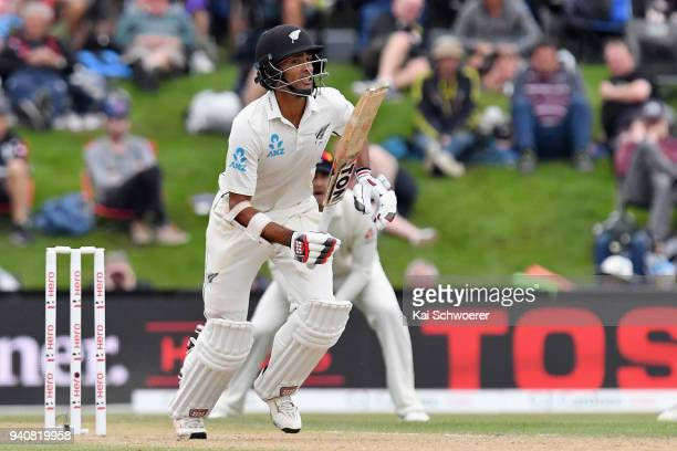 Jeet Raval of New Zealand bats during day four of the Second Test match between New Zealand and England at Hagley Oval on April 2 2018 in...