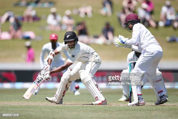 Jeet Raval of New Zealand bats during day one of the second Test match between New Zealand and the West Indies at Seddon Park on December 9 2017 in...