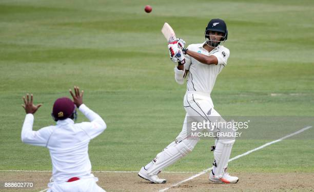 Jeet Raval of New Zealand bats during day one of the second Test cricket match between New Zealand and the West Indies at Seddon Park in Hamilton on...