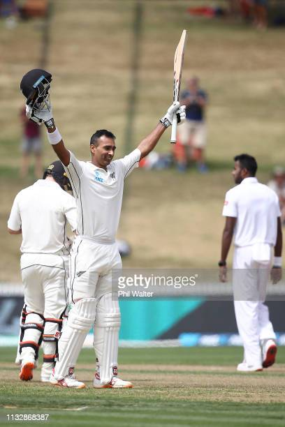 Jeet Raval of New Zealand celebrates his century during day two of the First Test match in the series between New Zealand and Bangladesh at Seddon...