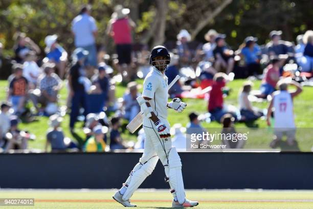 Jeet Raval of New Zealand looks dejected after being dismissed by James Anderson of England during day two of the Second Test match between New...