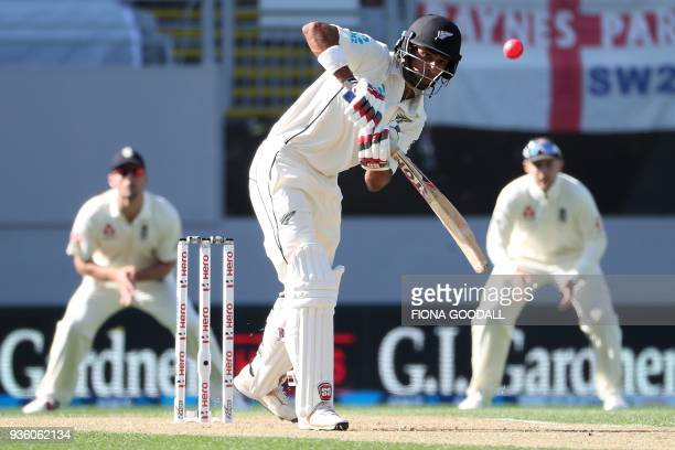 Jeet Raval of New Zealand plays a shot during the first day of the daynight Test cricket match between New Zealand and England at Eden Park in...