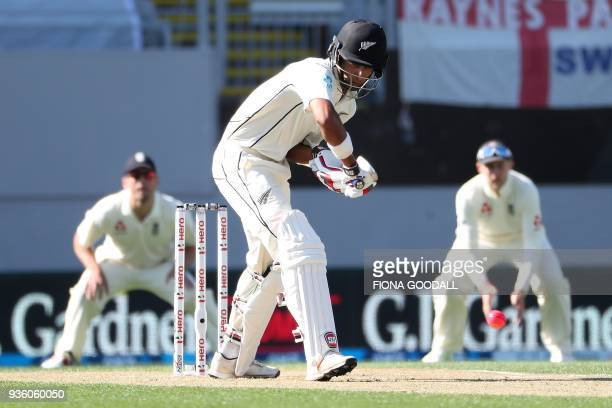 Jeet Raval of New Zealand prepares to bat during the first day of the daynight Test cricket match between New Zealand and England at Eden Park in...