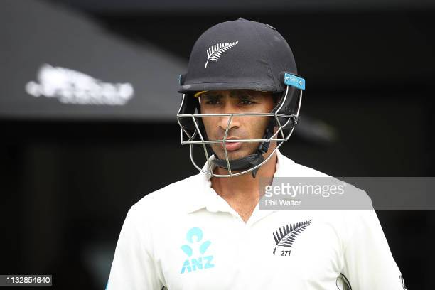 Jeet Raval of New Zealand walks out onto the field during day two of the First Test match in the series between New Zealand and Bangladesh at Seddon...