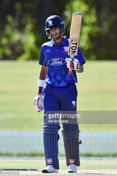 Jeet Raval of the Auckland Aces celebrates his half century during the One Day Ford Trophy Cup match between Canterbury and Auckland on February 7...