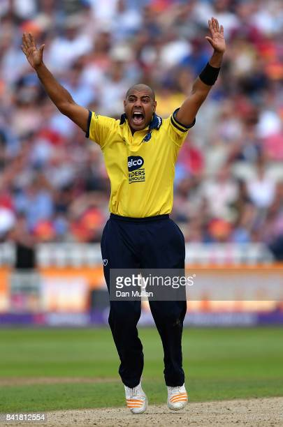 Jeetan Patel of Birmingham appeals during the NatWest T20 Blast SemiFinal match between Birmingham Bears and Glamorgan at Edgbaston on September 2...