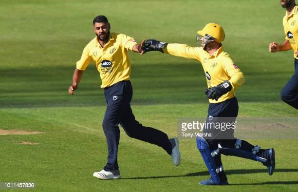 Jeetan Patel of Birmingham Bears celebrates taking the wicket of Steven Crook of Northamptonshire Steelbacks during the Vitality Blast match between...