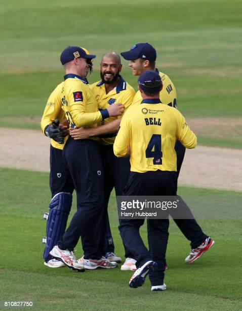 Jeetan Patel of Birmingham Bears celebrates the wicket of Michael Lumb of Notts Outlaws during the Natwest T20 Blast match between Birmingham Bears...