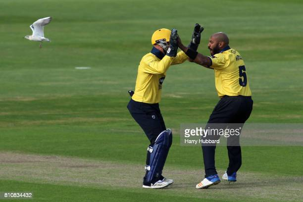 Jeetan Patel of Birmingham Bears celebrates the wicket of Riki Wessels of Notts Outlaws during the Natwest T20 Blast match between Birmingham Bears...