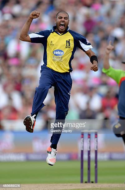 Jeetan Patel of Birmingham celebrates dismissing Alex Wakely of Northamptonshire during the NatWest T20 Blast Semi Final between Birmingham Bears and...