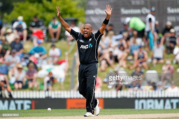 Jeetan Patel of New Zealand celebrates the wicket of Mosaddek Hossain of Bangladesh during the third One Day International match between New Zealand...
