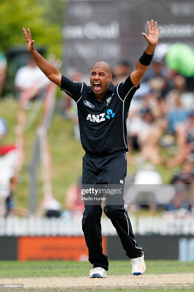 Jeetan Patel of New Zealand celebrates the wicket of Mosaddek Hossain of Bangladesh during the third One Day International match between New Zealand and Bangladesh at Saxton Field on December 31, 2016 in Nelson, New Zealand.