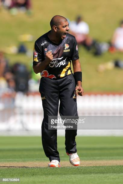 Jeetan Patel of the Firebirds celebrates after taking the wicket of Nick Kelly of the Knights during the Twenty20 Supersmash match between the...