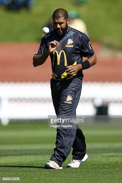 Jeetan Patel of the Firebirds prepares to bowl during the McDonalds Super Smash T20 match between Wellington Firebirds and Canterbury Kings at Basin...