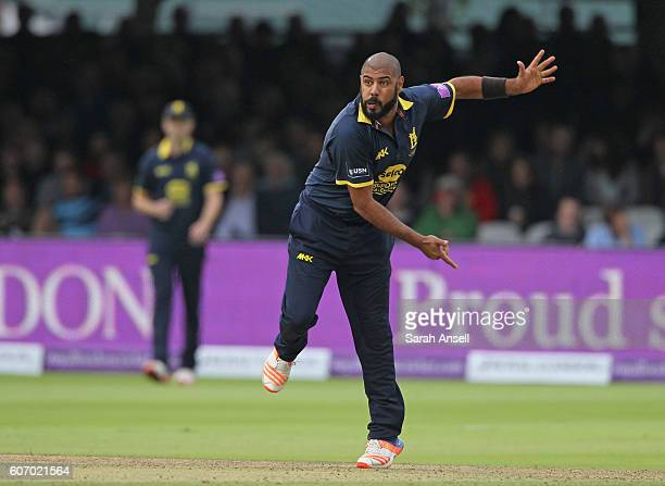 Jeetan Patel of Warwickshire bowls during the Royal London OneDay Cup Final match between Surrey and Warwickshire at Lord's Cricket Ground on...