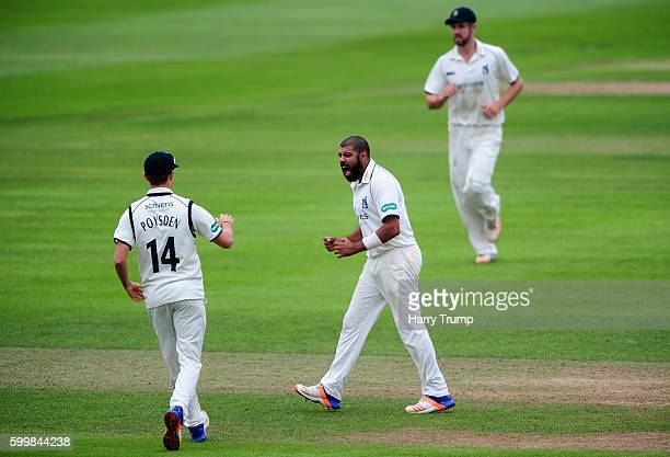 Jeetan Patel of Warwickshire celebrates after dismissing Marcus Trescothick of Somerset during Day Two of the Specsavers County Championship Division...