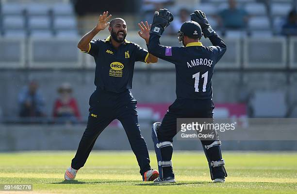Jeetan Patel of Warwickshire celebrates with Tim Ambrose after dismissing Ravi Bopara of Essex during the Royal London OneDay Cup quarter final match...