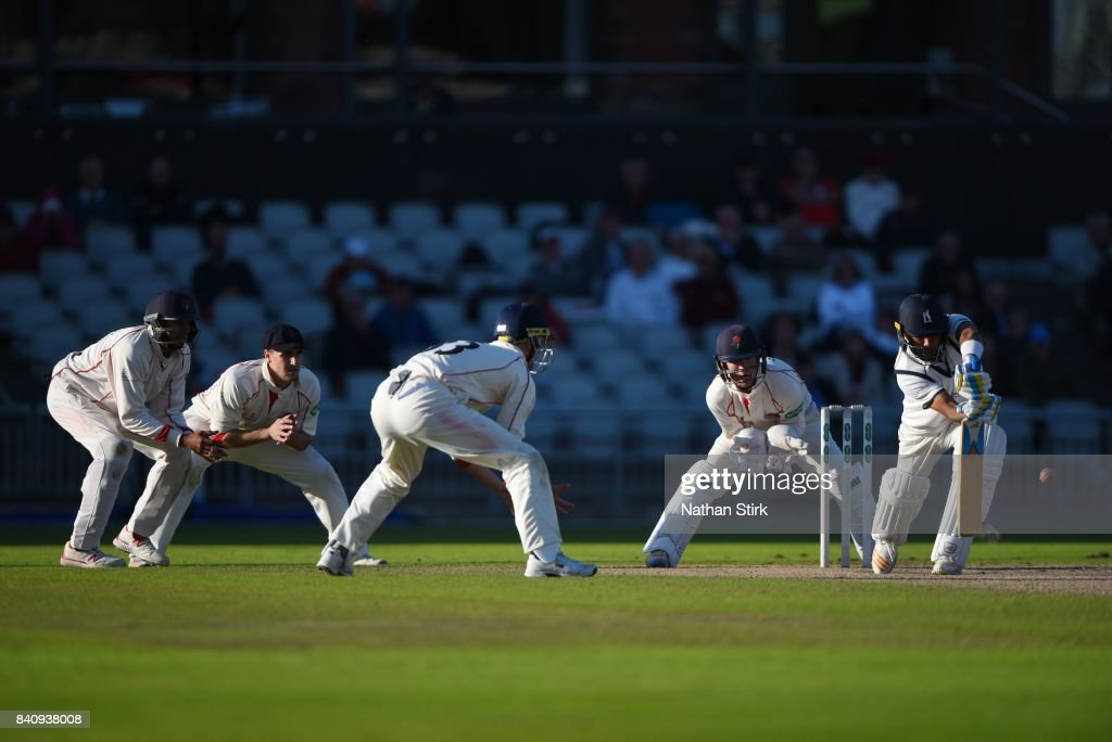 Jeetan Patel of Warwickshire defend a ball during the County Championship Division One match between Lancashire and Warwickshire at Old Trafford on August 30, 2017 in Manchester, England.
